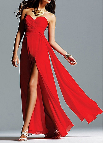 Chiffon A-line Strapless Sweetheart Long Slit Red Evening Gown