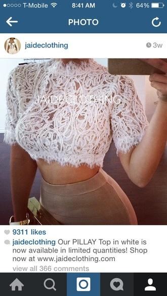 blouse lace top crop tops