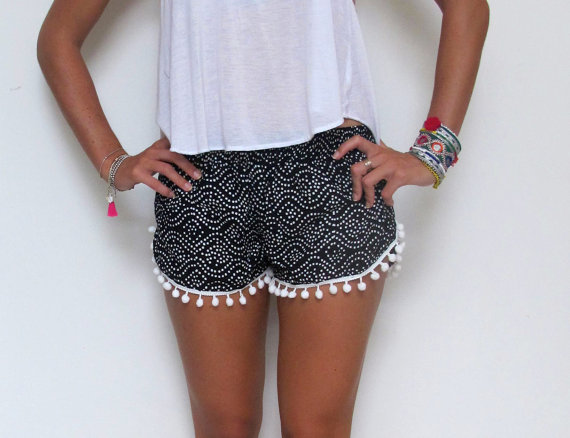 Pom Pom Shorts  Black and White dot pattern with by ljcdesignss