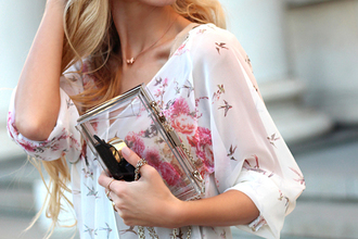 blouse flowers birds pink white t-shirt large print dress