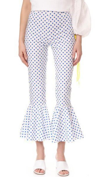 Anna October Polka Dot Pants in blue / white