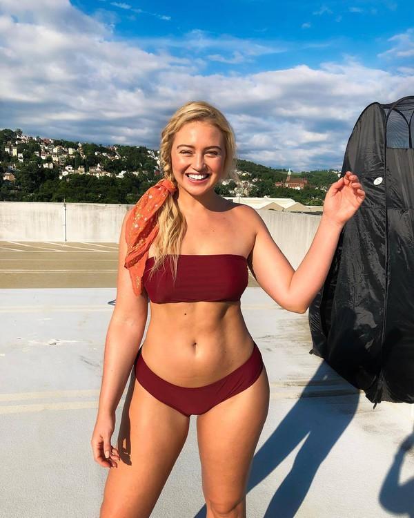 swimwear burgundy bikini top bikini bottoms bandeau bikini bandeau iskra lawrence instagram