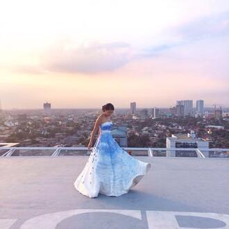 dress blue dress floral dress white dress long dress long prom dress blue and white blue pattern blue prom dress white prom dress