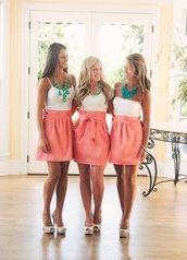 dress,summer dress,bff,summer,salmon,peach dress,jewels,skirt,clothes,pink,pink skirt,bridesmaid,pencil skirt,bow,red/orange,coral skirt
