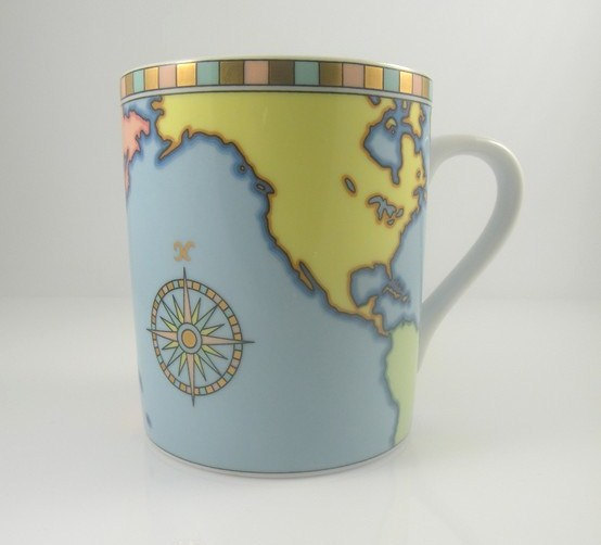 Tiffany&co coffee mug  tea cup  world map  globe by oceanofflowers