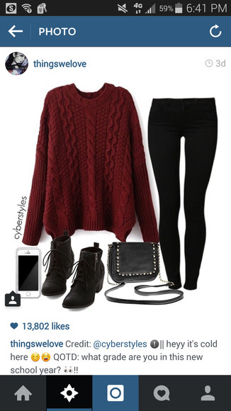 red sweater thick sweater long sleeve