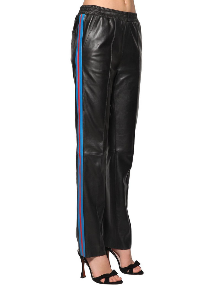 STAND Alva Wide Leg Leather Pants W/side Bands in black