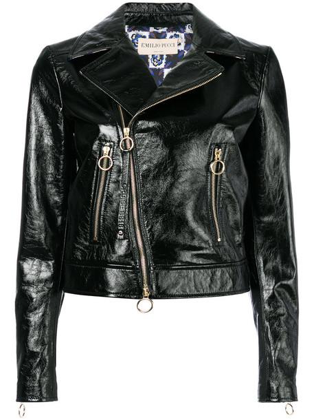 jacket biker jacket zip women embellished black