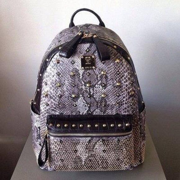 snake gold black grey bag print rucksack