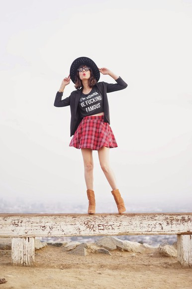 tartan tartan skirt boots crop tops blogger a fashion nerd jewels hat quote on it blazer