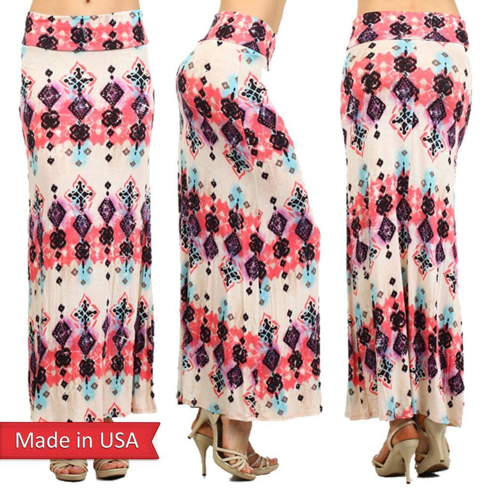 Women Fashion Pastel Color Pink Blue Cute Tie Dye Stripe Print Maxi Skirt USA