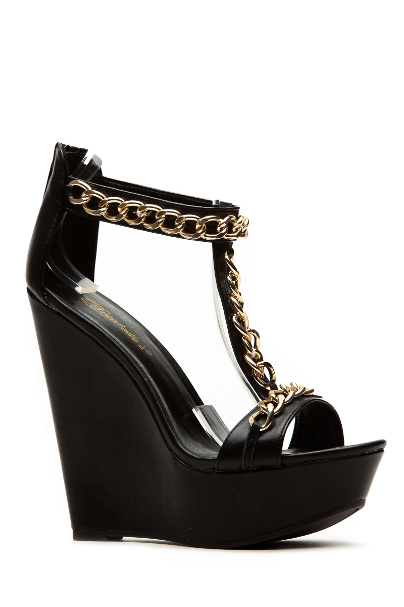 Gold Chain Black Wedge @ Cicihot Wedges Shoes Store:Wedge Shoes ...