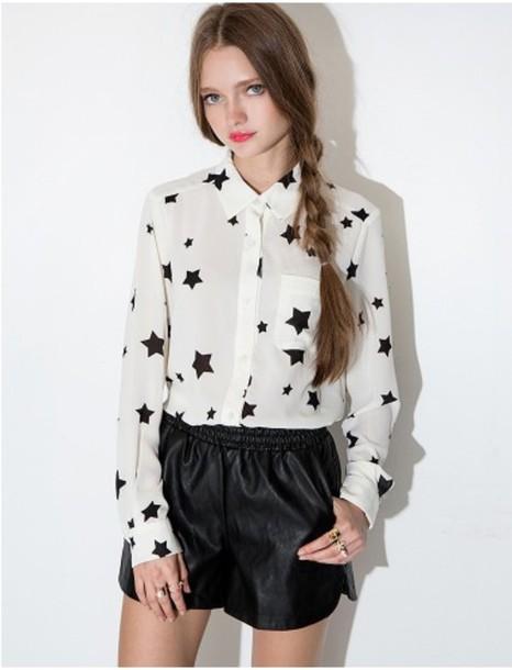 Blouse Stars Stars Blouse Cute Cute Blouse Long Sleeves Black And White Korean Fashion