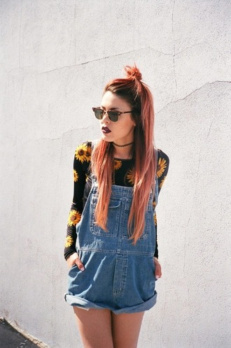 shorts dungarees dungaree denim overalls dungarees shorts hipster le happy top sunflower