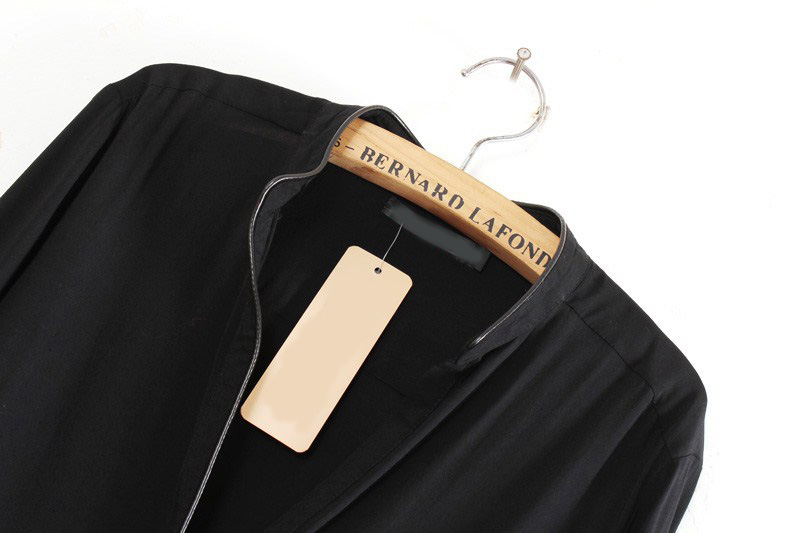 Black Long Sleeve Contrast PU Trims Chiffon Blouse - Sheinside.com