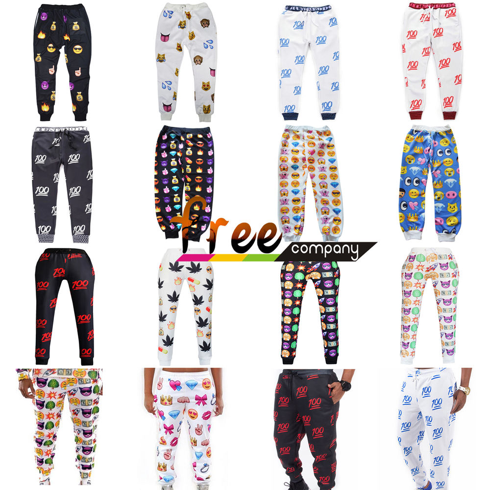 Men women white emoji funny autumn winter printed thicken 3d jogger pants s