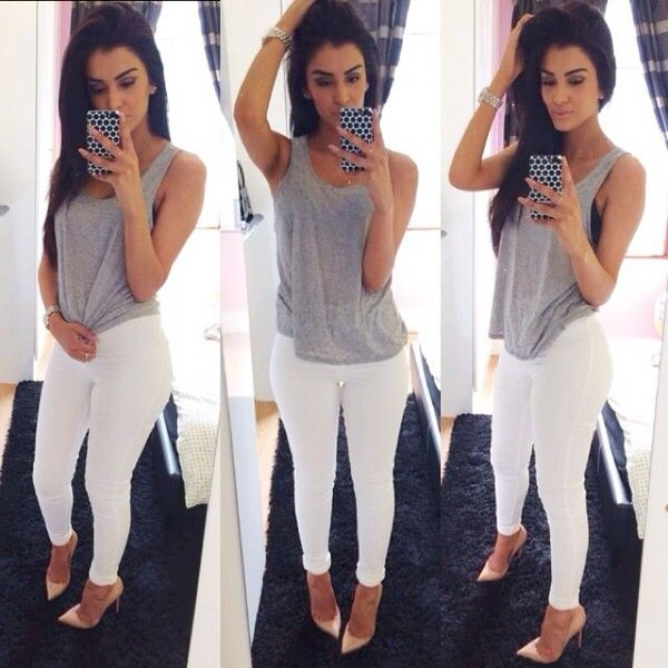 heels jeans grey chic shoes pants shirt