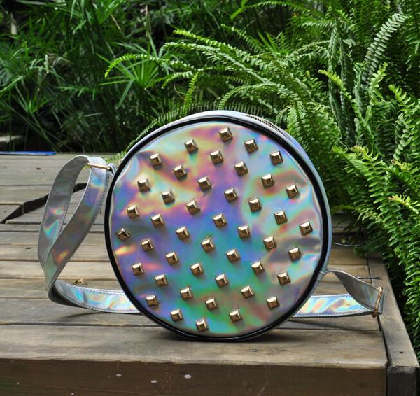 bag punk rivet laser bag holographic silver bag