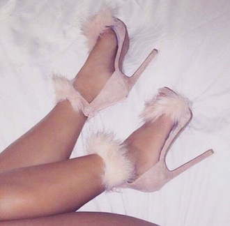 shoes heels fluffy pink