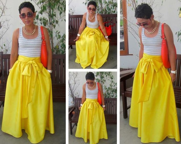 skirt yellow skirt long skirt with bow maxi skirt