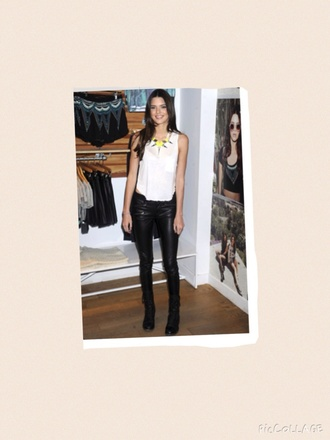 jeans kendall jenner leather pants edgy yellow white top black jeans