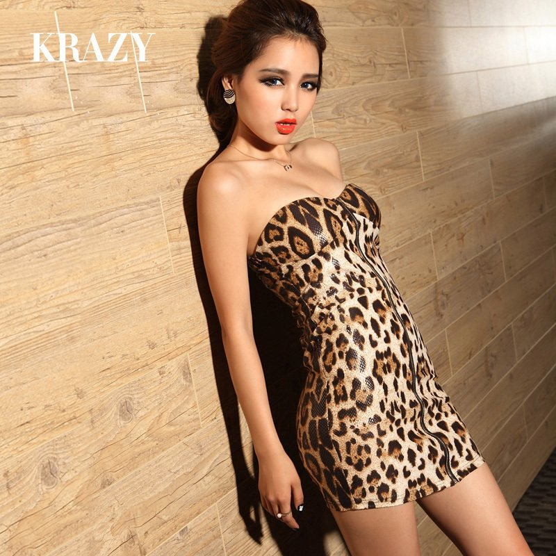 Krazy leopard print tube top dress zipper temptation sexy curve one piece dress T19-inDresses from Apparel & Accessories on Aliexpress.com