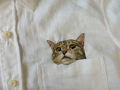 shirt,button down,cats,white,pockets,swag,cool,great,2014,pocket t-shirt,mimi,t-shirt,cat face,button up,white shirt,embroidered,cat shirt,grunge,aesthetic