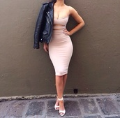dress,shoes,jacket,light pink,nude,spaghetti strap,pink/nude,pastel pink,beige dress,nude dress,sexy dress,rose,beige,cut-out dress,knee length dress,bodycon dress,pink,sexy,cute,summer outfits,jeckt,black,bodycon,blush dress,long dress,pink dress,tight,side cutout dress,sleeveless dress,sleeveless,baby pink,midi dress,fashion