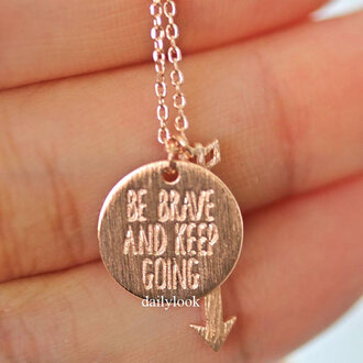 jewels arrow necklace be brave and keep going be brave and keep going necklace pink necklace best friends necklace