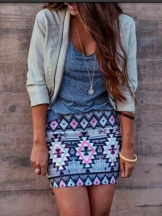 skirt aztec print skirt