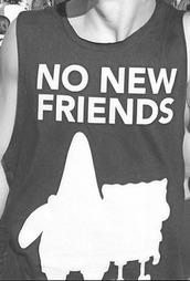 t-shirt,spongebob,patrick star,no new friends