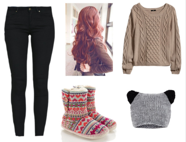 hat cream sweater grey beanie heart warm red red hair hair ear black jeans black sweater beanie winter sweater winter boots ugg boots shoes