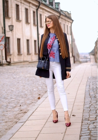 only my fashion style blogger shoes coat top bag jewels pumps high heel pumps blue top navy coat white pants spring outfits