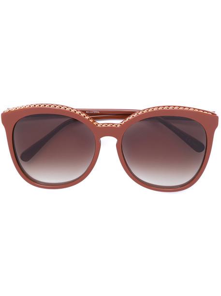 Stella Mccartney Eyewear - Falabella chain sunglasses - women - Acetate/Metal (Other) - 59, Brown, Acetate/Metal (Other)
