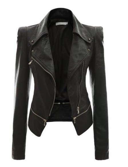 zip jacket women faux rider motorcycle