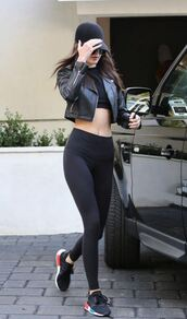 top,crop tops,jacket,biker jacket,sneakers,leggings,kendall jenner,hat,fall outfits,shoes,all black everything,adidas