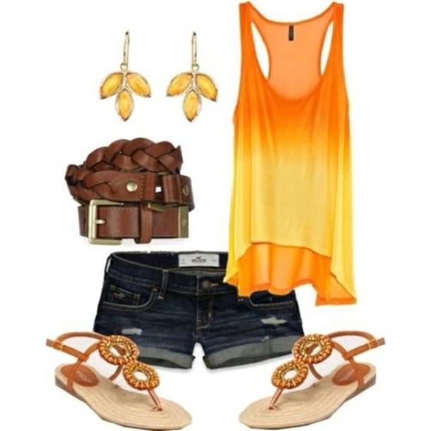 shirt blouse orang shorts orang blose orange jewels orange tank top orange