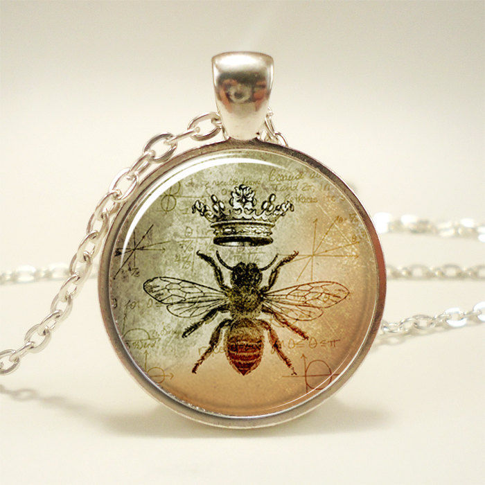 Queen Bee Necklace Royal Crown Insect Art Pendant Bee Jewelry 1088S1IN | eBay