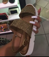 shoes,summer,white,gold,stones,girl,sandals,diamonds,flat sandals,gold shoes,sparkle,brown