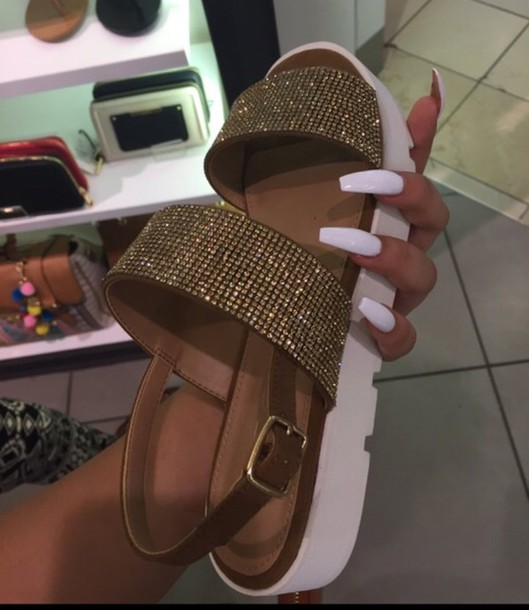 shoes summer white gold stones girl sandals diamonds flat sandals gold shoes sparkle brown