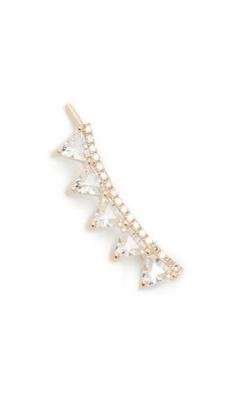 cuff triangle clear ear cuff gold white jewels