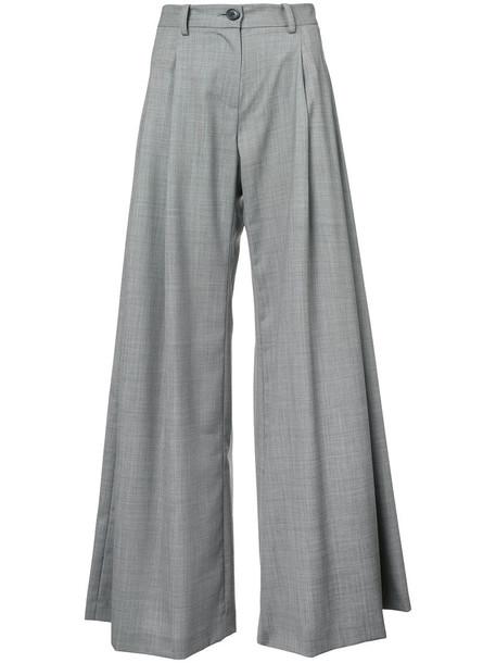 high waisted high women wool grey pants