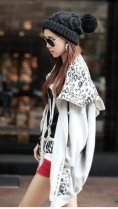 sweater,hoodie,leopard print,oversized sweater,hat