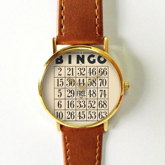 Bingo Card Watch, Vintage Style Leather Watch, Women Watches, Unisex Watch, Boyfriend Watch,
