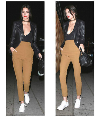 pants top sneakers jacket biker jacket plunge v neck kendall jenner kardashians fall outfits blouse