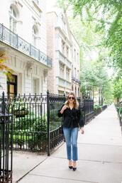 bows&sequins,blogger,top,jeans,shoes,jewels,bag