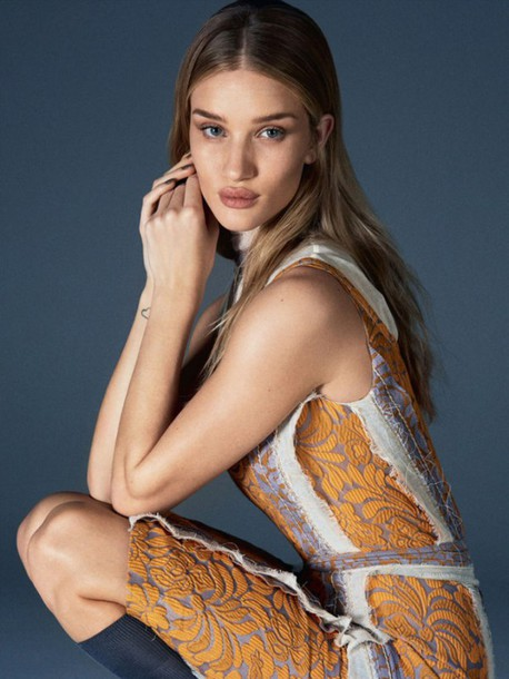 dress rosie huntington-whiteley rust shift dress