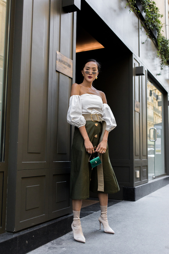 top green skirt sunglasses tumblr white top off the shoulder off the shoulder top skirt midi skirt boots sock boots button up shoes
