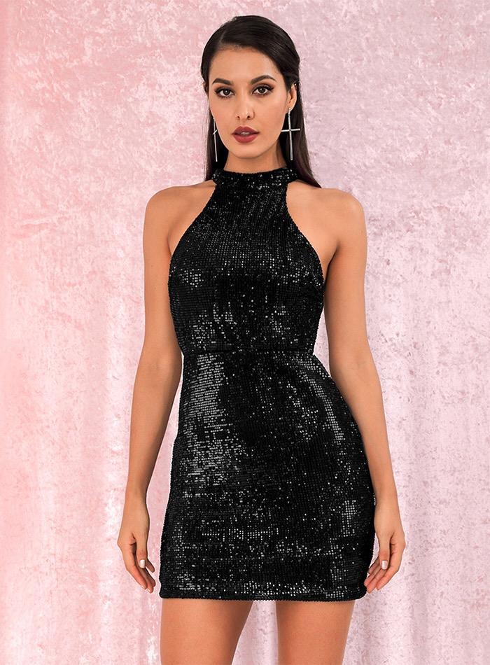 sequin halter neck mini dress