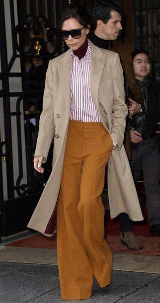 7bf5b4e277c pants shirt coat trench coat victoria beckham sunglasses fashion week  fashion week 2018 mustard